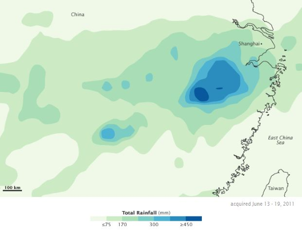 TRMM measured precipitation over China, June 13-19, 2011 (NASA image)