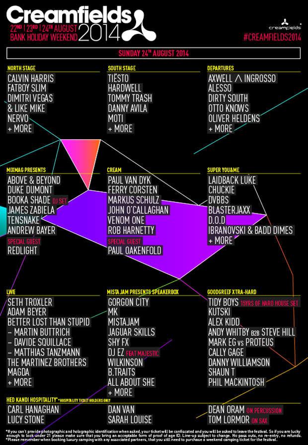 Creamfields 2014 lineup