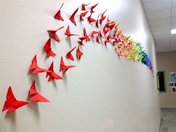 Украшения из бумажных бабочек
