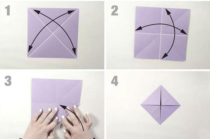 Бумажная бабочка: этапы складывания 1-4