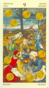 Таро Брейгеля 9 Монет (пентаклей)
