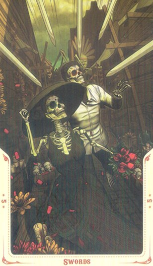 5 Мечей Таро святой смерти (Santa Muerte Tarot)