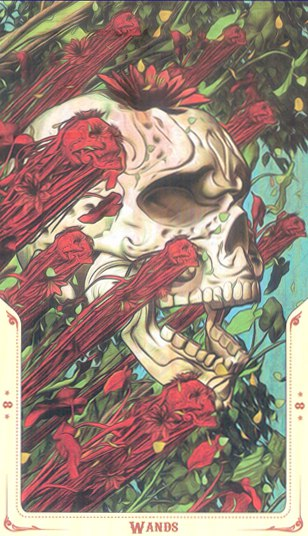 8 Жезлов Таро святой смерти (Santa Muerte Tarot)