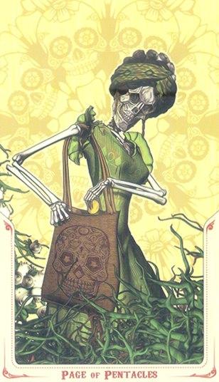 паж Монет Таро святой смерти (Santa Muerte Tarot)