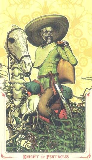 рыцарь Монет Таро святой смерти (Santa Muerte Tarot)