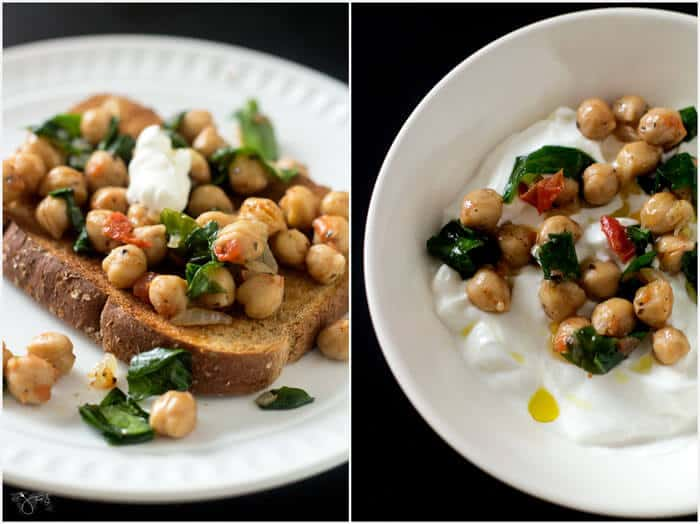 Chickpeas as a toast topper and spooned on Greek yogurt