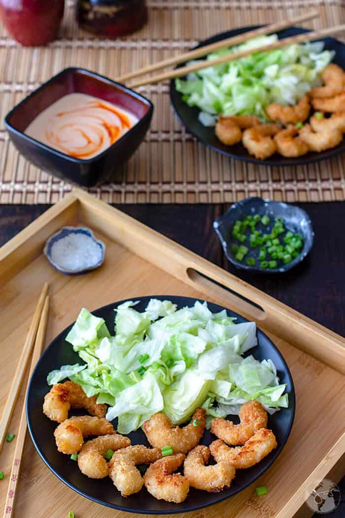 Breaded shrimp that is oven-baked, a skinnier version of Bonefish bang bang recipe