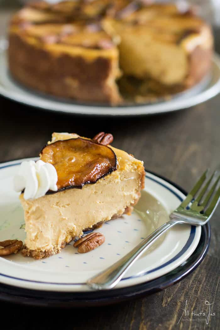 Discover a hint of earthy and nutty flavor in this luscious Goat Cheese Pumpkin Cheesecake with roasted pears and find out why is fabulous to be fifty.