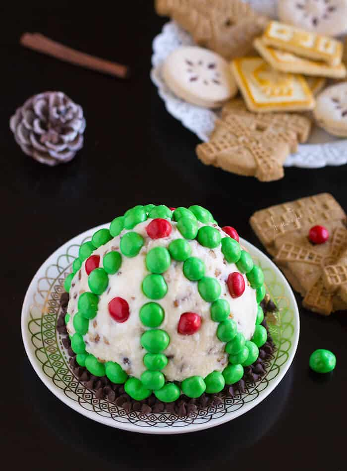 Scott's Cheese Ball with pecans and m&m's - All that's Jas