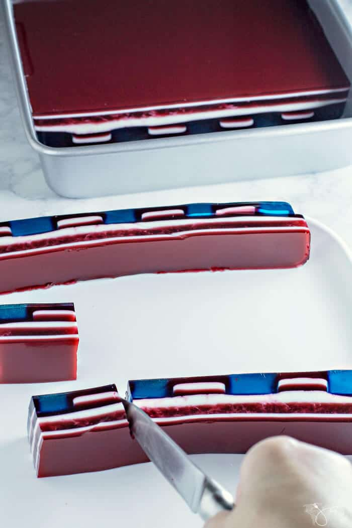 Red White And Blue Jello Flag Fourth Of July Dessert