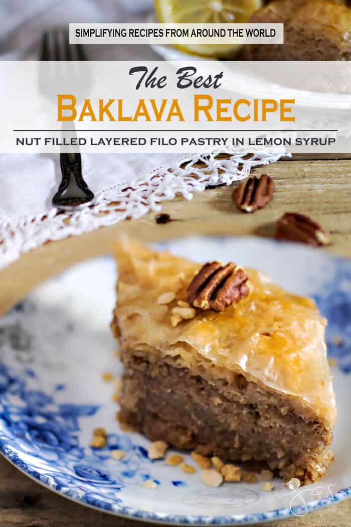 Filo dough sheets filled with ground nuts and drenched in syrup make baklava