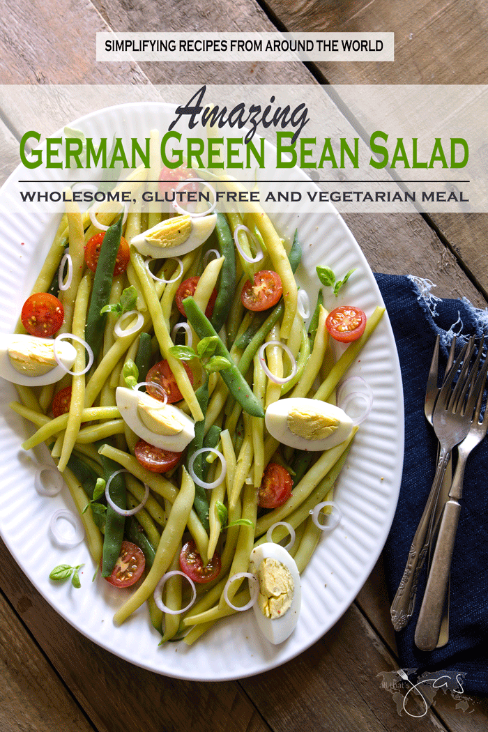 Delicious gluten free, vegetarian salad with green and yellow wax beans, cherry tomatoes, and hard-boiled eggs tossed with garlic balsamic vinaigrette is perfect light meal.
