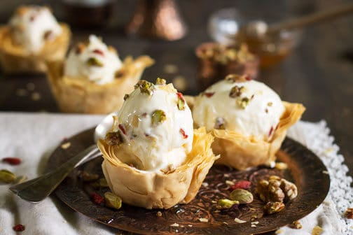 Baklava Ice Cream in Fillo Cups | All that's Jas