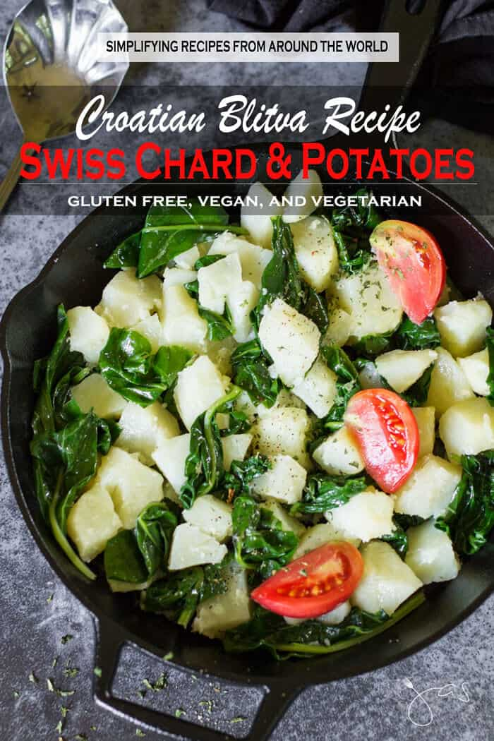 Croatian-style Swiss chard and potatoes recipe with garlic is simple, easy and quick to make