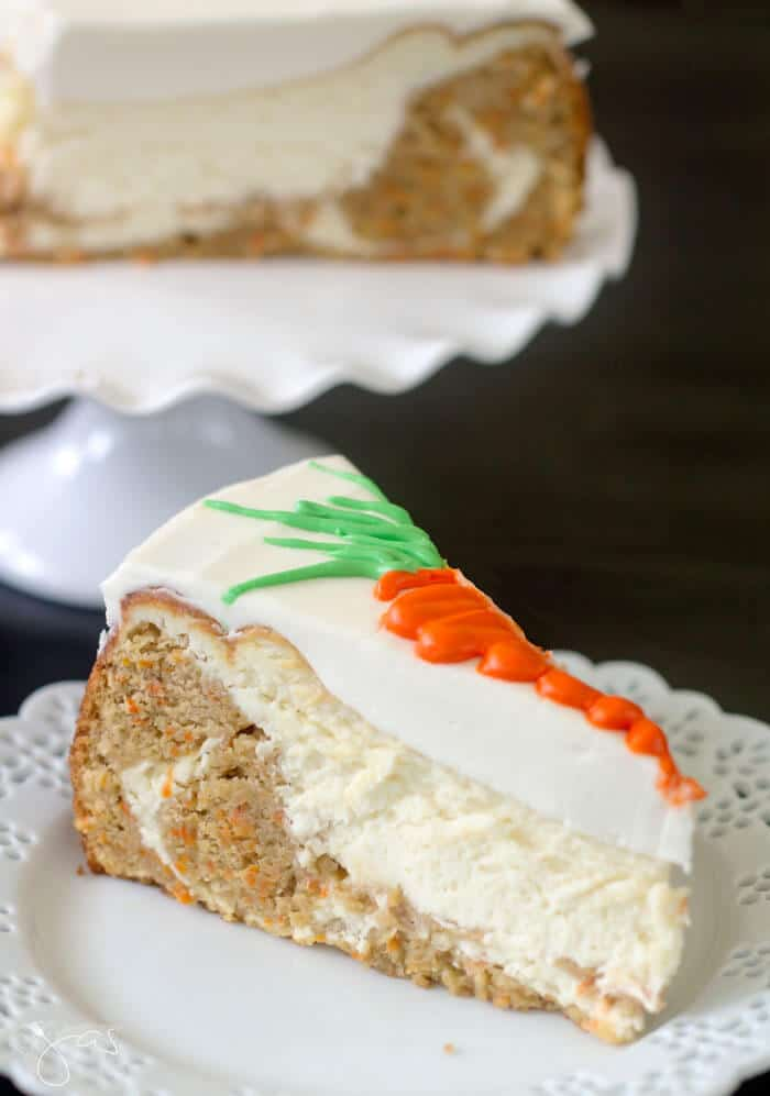 A better looking slice from the second carrot cake cheesecake.