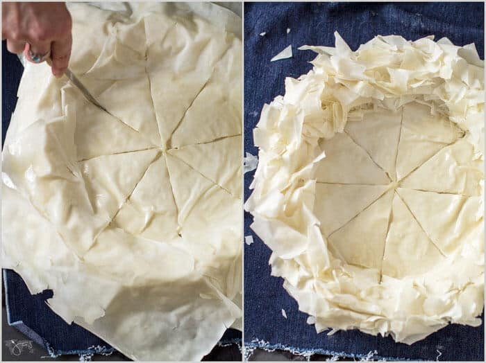 Ruffled fillo crust for Indiana Hoosier pie