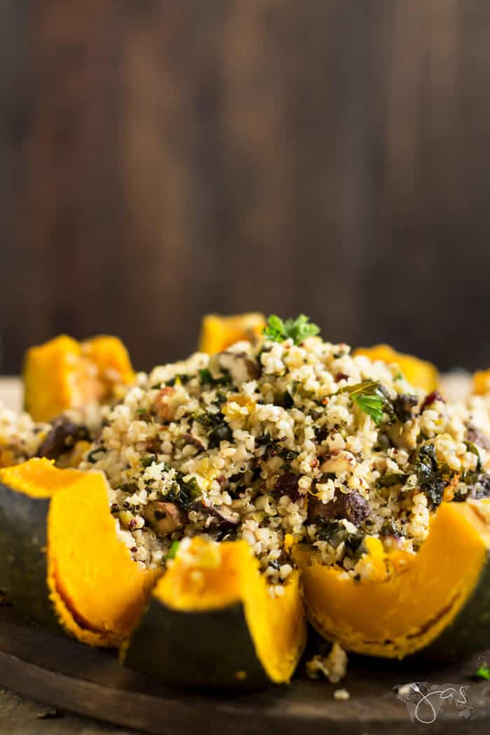 rosted stuffed buttercup squash cut in wedges