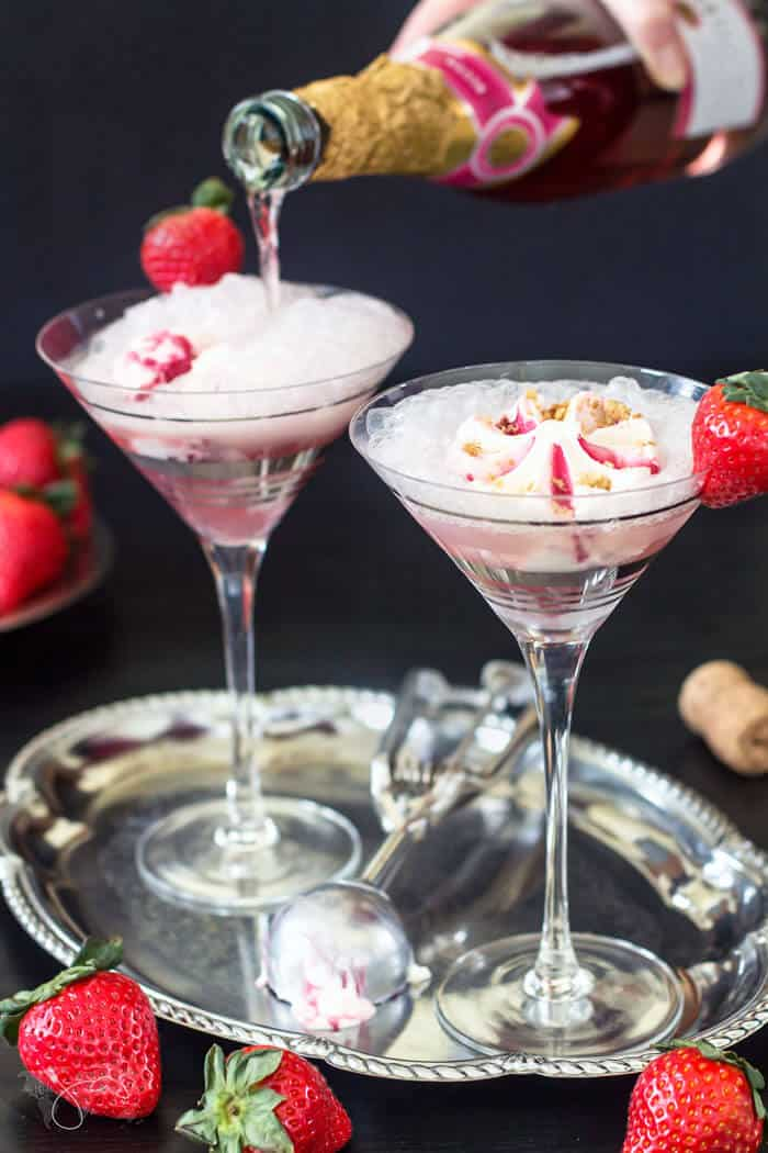 Perfect for Valentine's Day, this champagne and gelato float is both a beverage and a dessert