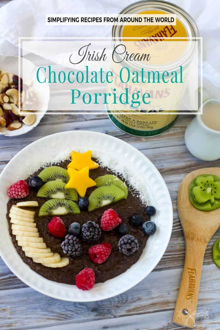 Creamy, healthy, and delicious, this Irish Cream chocolate oatmeal porridge is both a breakfast and a dessert.
