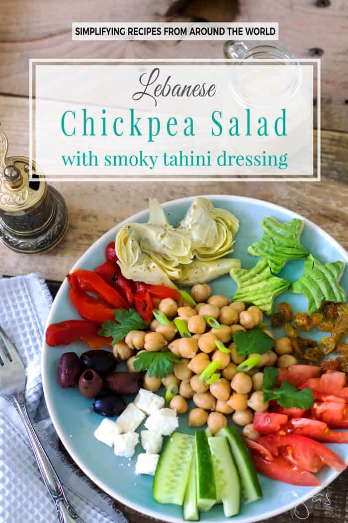This wholesome, gluten-free Lebanese salad with chickpeas, fresh vegetables, and smoky tahini dressing brings Mediterranean flavors to satisfy your appetite.
