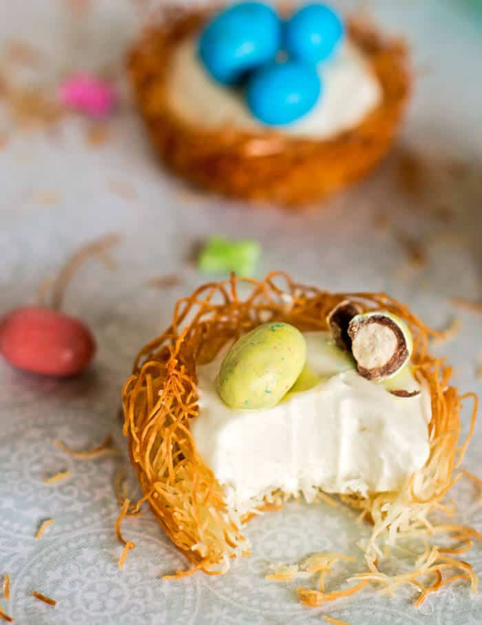 A bite out of cheesecake kataifi nests