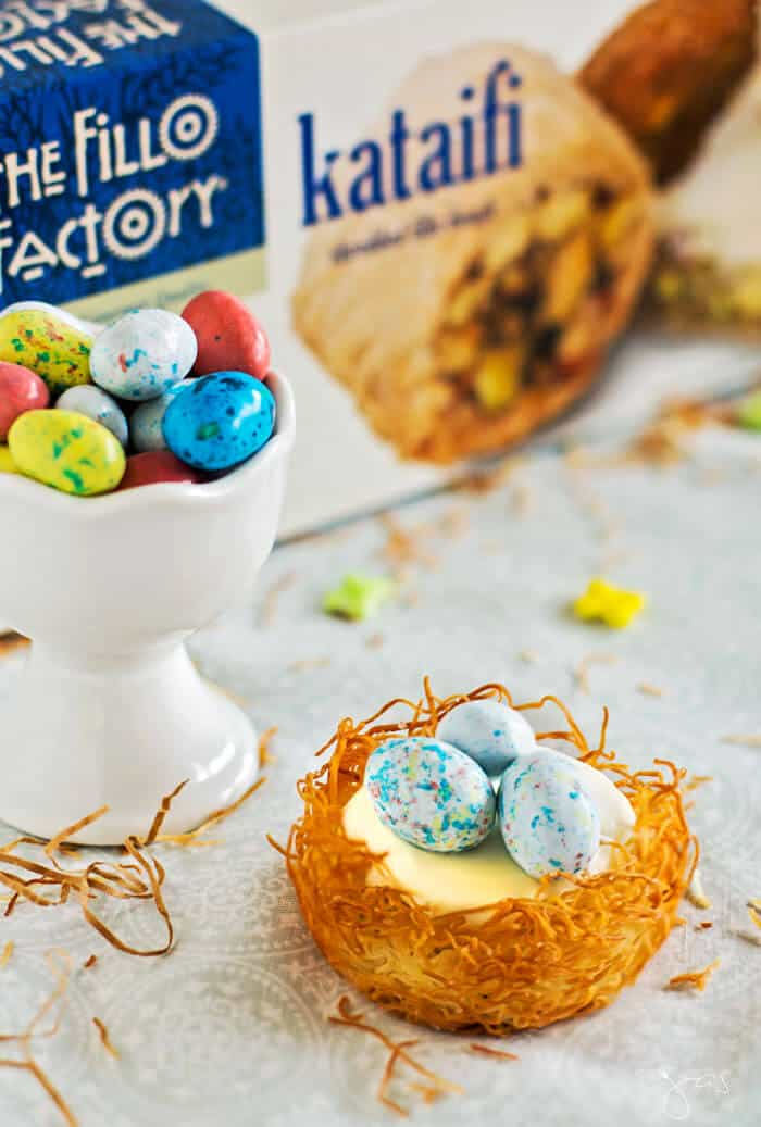 Easter treat - no bake cheesecake kataifi nests