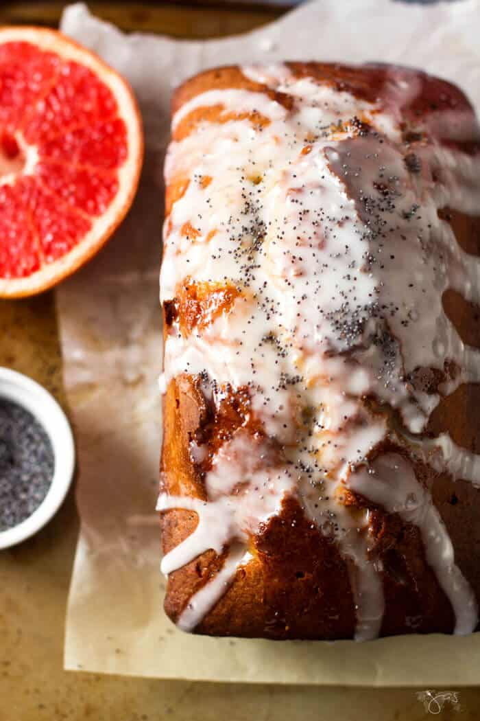 A loaf of grapefruit pound cake
