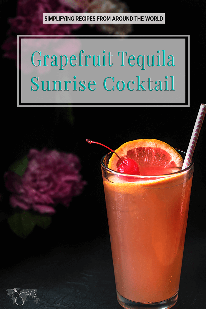 This refreshing grapefruit tequila sunrise cocktail is the favorite cool-down summer drink. | allthatsjas.com | #drink #cocktail #summer #beverage #grapefruit #tequila #recipe