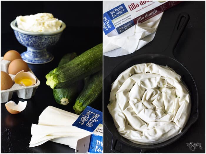 Ingredients for spiral fillo pie