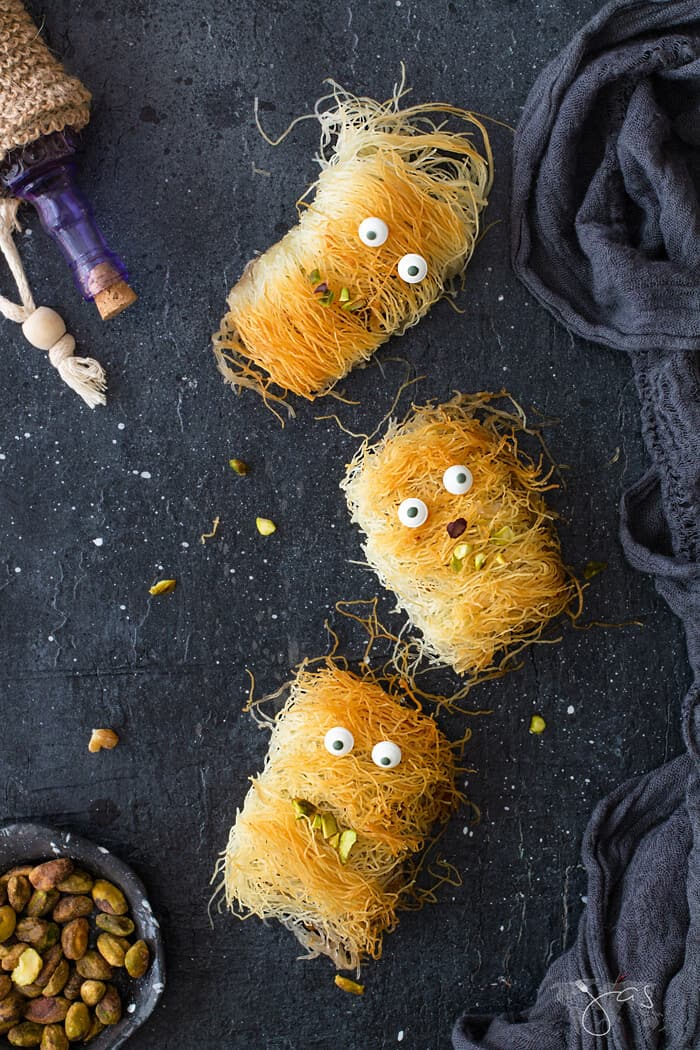 Fuzzy and mummy looking kataifi monsters recipe