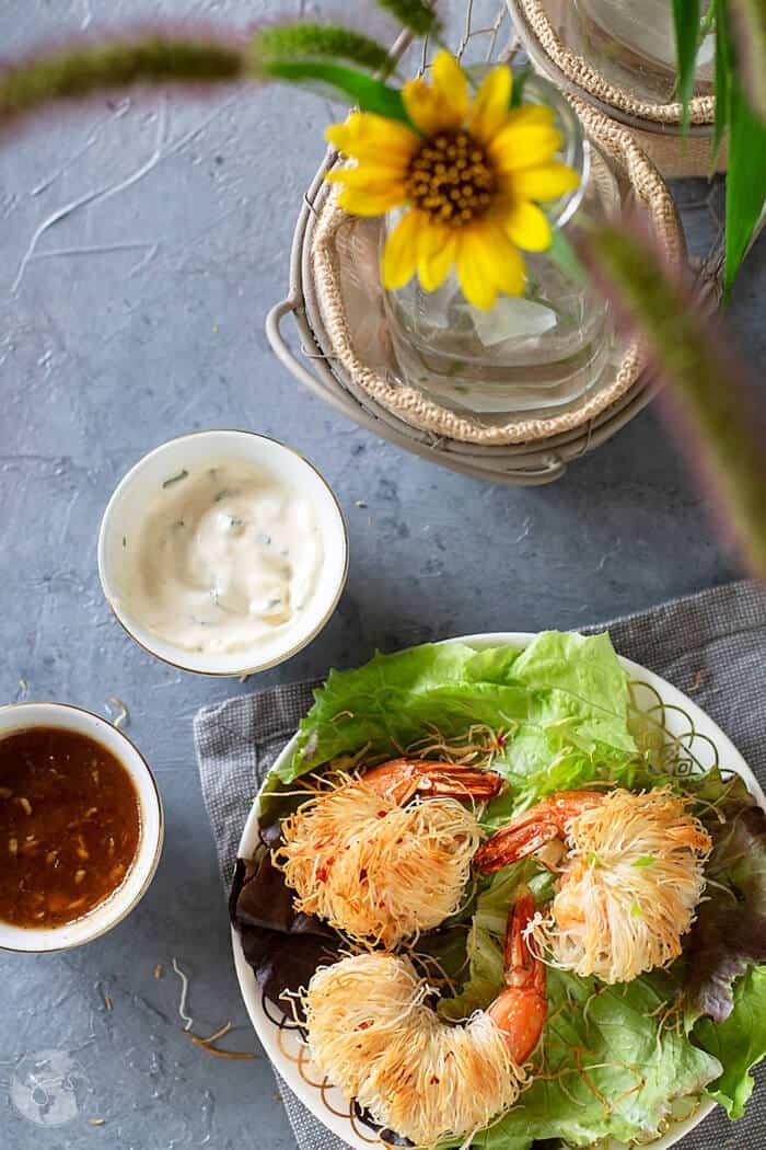 Kataifi shrimp with aioli and apricot vinaigrette sauces