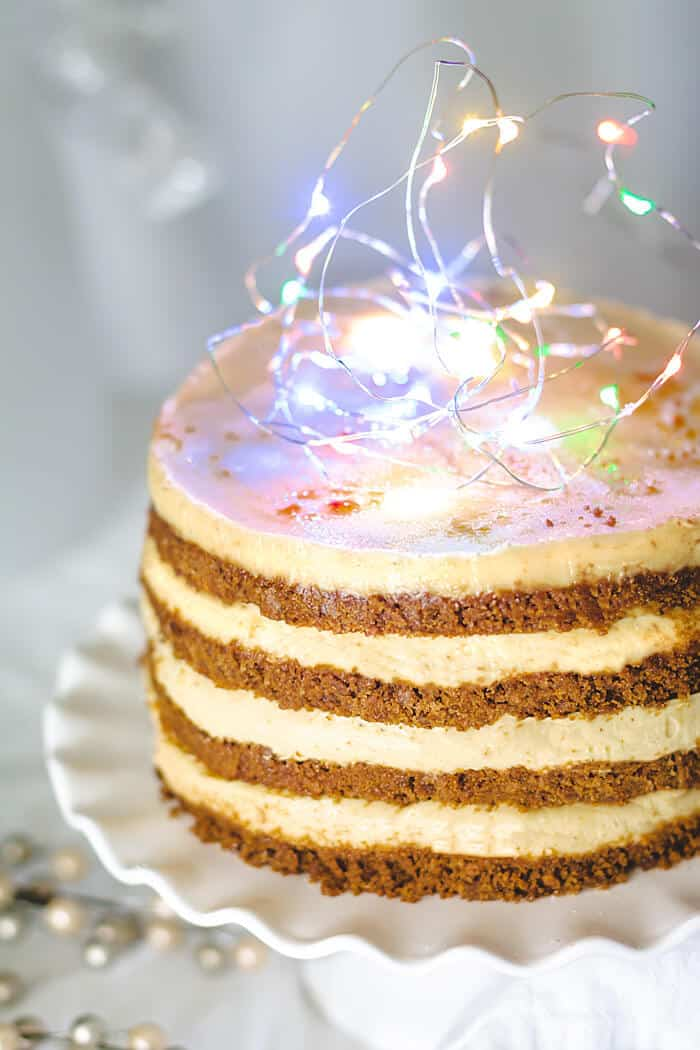 Delicious step-by-step recipe for No-Bake Eggnog Gingersnap Cheesecake Cake