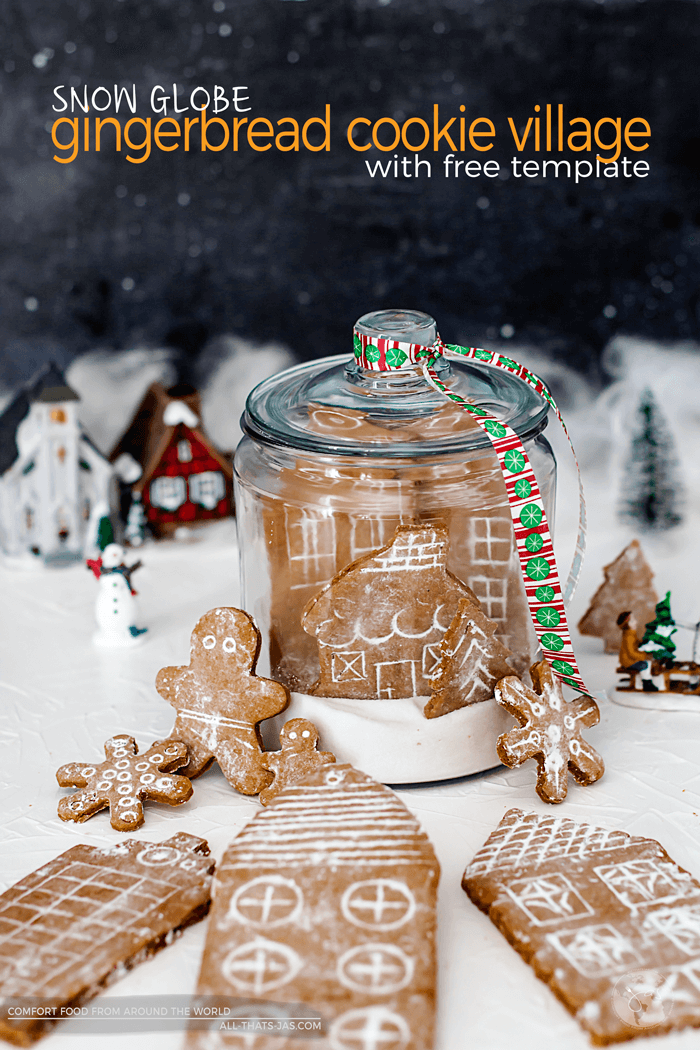 Looking for a traditional German gingerbread cookie recipe? This fun Snow Globe German Gingerbread Cookie Village is delicious and easy to make and includes a FREE template for the German Village. Fun for kids to help baking!   allthatsjas.com   #gingerbread #german #baking #cookies #lebkuchen #christmas #fromscratch #template #cookiehouse #holidaybaking #allthatsjas