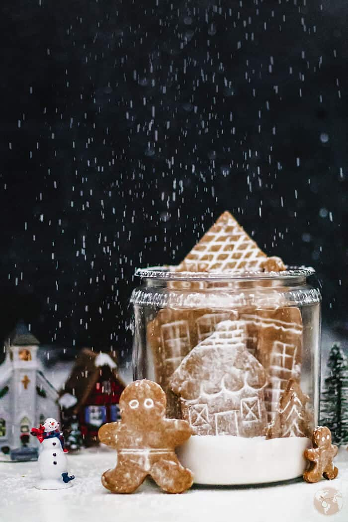German village snow globe with gingerbread cookies