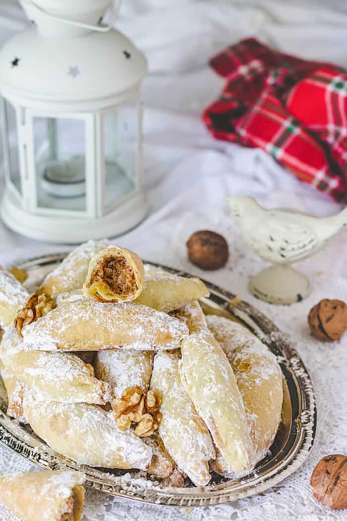 Delectable and mouth-watering, these Polish crescent cookies aka Kiflies, can also become part of your family's Christmas traditions. | allthatsjas.com | #cookies #recipes #kiflies
