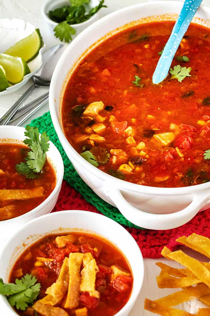 Hoe to make Mexican chicken tortilla soup at home.