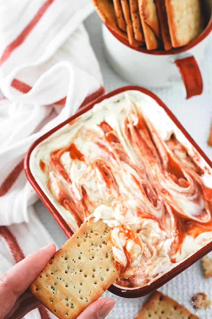 A perfect sweet and savory combination, this guava dip is made with guava paste, cream cheese, sour cream, honey, and garlic