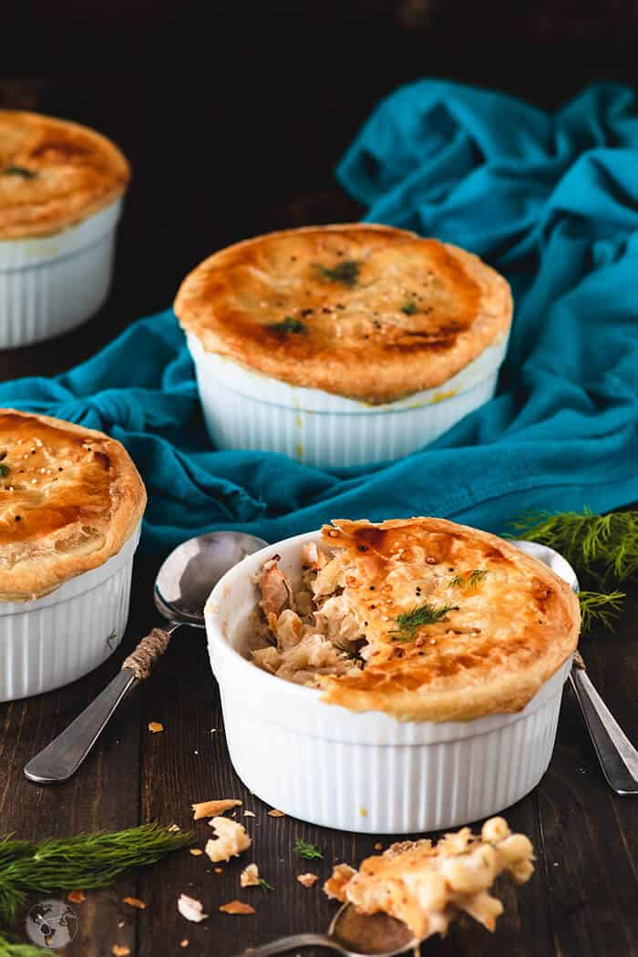 Creamy, smoky elbow macaroni & cheese with lobster and puff pastry.
