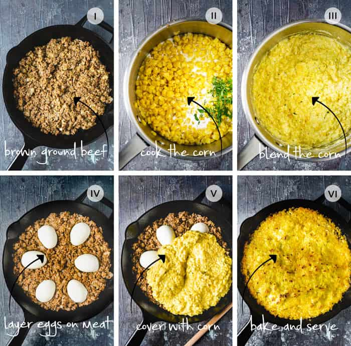 Step by step instruction to making Chilean corn pie