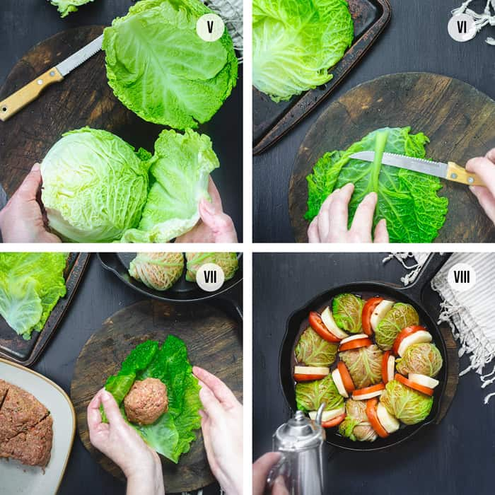 How to make Palestinian Stuffed Savoy Cabbage Rolls - steps 5 to 8
