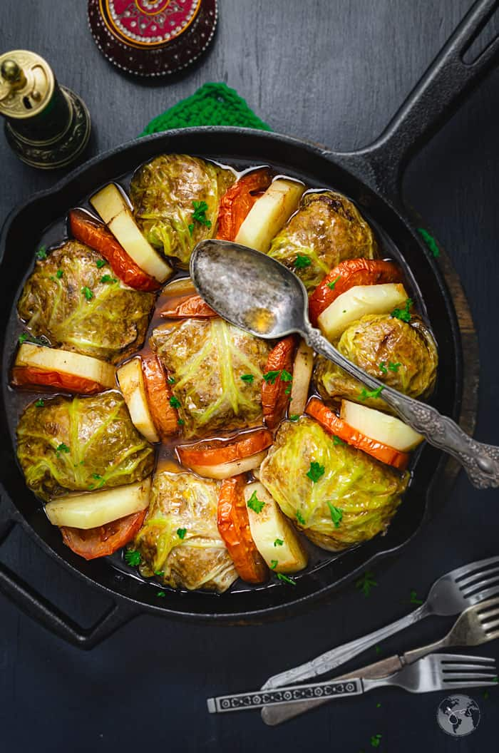 Palestinian Stuffed Savoy Cabbage Rolls - overhead