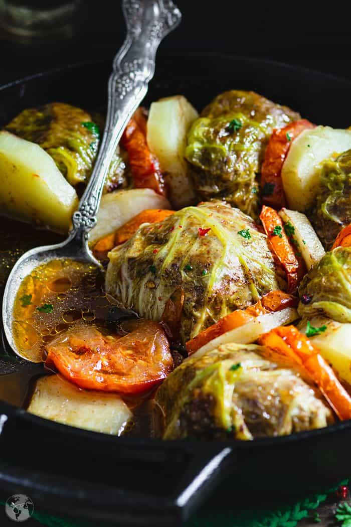 Palestinian Stuffed Savoy Cabbage Rolls - closeup