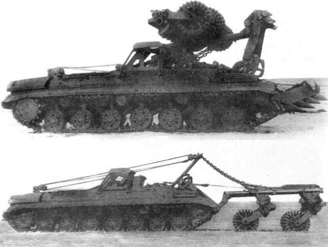 Минный инженерный тральщик на базе танка Т-10М: вверху «объект 220» с ножевыми и катковой секциями (в походном положении); внизу — «объект 213» с катковым тралом