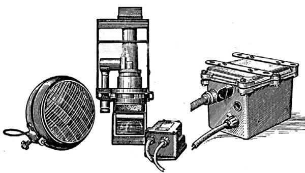 Танковый прибор ночного видения механика-водителя ТВН-1 в комплекте с фарой ФГ-10 с ИК-фильтром, фильтром радиопомех ФР-82 и высоковольтным блоком питания