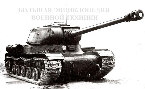 Тяжелый танк ИС-2 промежуточной модели, со старым корпусом с «ломаным носом» и новой башней.