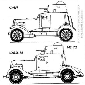 Вид сбоку бронеавтомобилей ФАИ и ФАИ-М