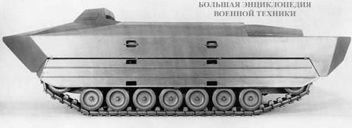 Макет чехословацкого опытного плавающего транспортёра VOZ - вид с левого борта