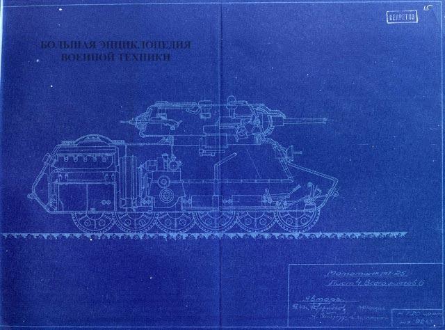 Продольный разрез МТ-25. Даже для среднего танка места здесь довольно много