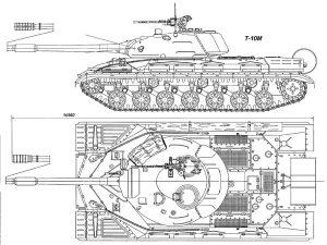 Общий вид танка Т-10М слева и сверху