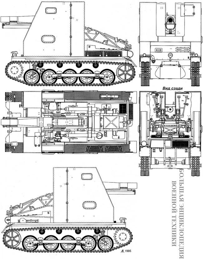 Чертеж танка 15 cm sIG 33 Sfl. auf'Pz.I Ausf.B